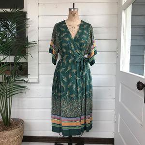 Vintage 70's Bohemian Floral Wrap Dress